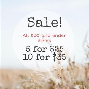 Sale: all $20 and under items qualify 6x$25/10x$35